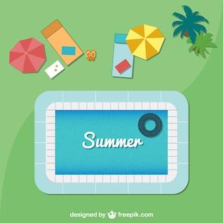 Fondo de verano con piscina