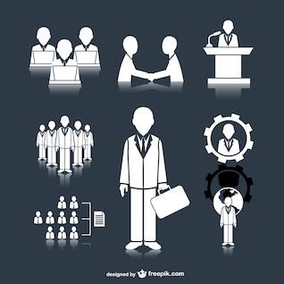 Iconos reunión de negocios