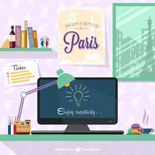 Espacio de trabajo de diseñador con cartel de París