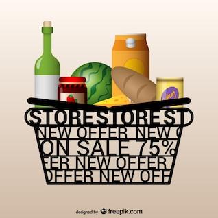 Vector artístico de cesta de supermercado