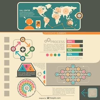 Elementos de infografía estilo vintage