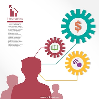 Infografía con siluetas de planes de negocios
