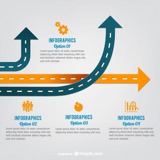 Infografía de carreteras con flechas