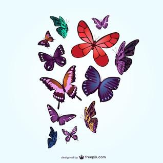 Vectores artísticos de mariposas de colores