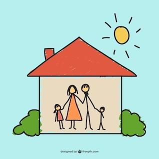 Dibujo hogar feliz