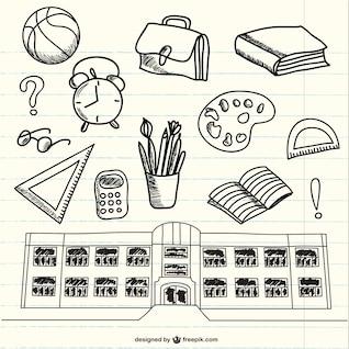 Garabatos de útiles escolares en bloc de notas