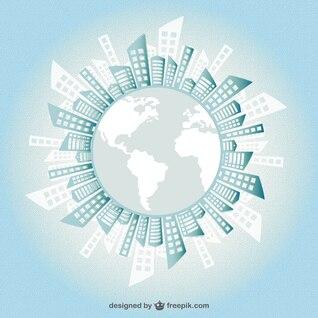 Silueta de edificios alrededor de la Tierra