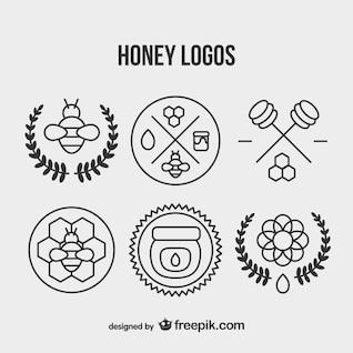 Conjunto de logotipos vintage de miel