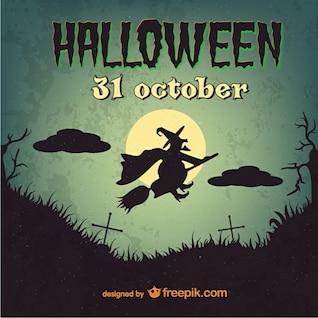 Plantilla de Halloween vintage con bruja