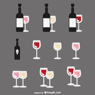 Dibujos planos de botellas de vino y vasos