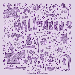 Iconos de Halloween dibujados a mano