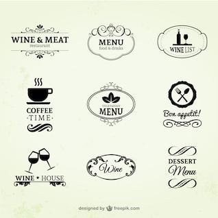 Etiquetas de vino, restaurante y café