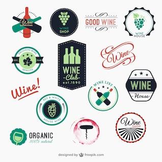 Colección de insignias de vino a color