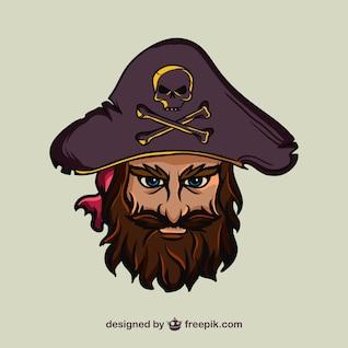 Ilustración de cara de pirata