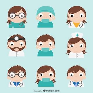 Pack de dibujos de médicos