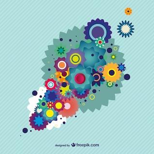 Colorido diseño floral fondo ilustrador