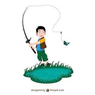Vector dibujo de pescador