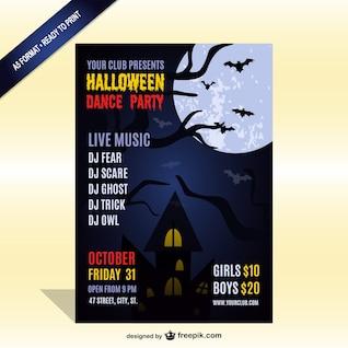 Plantilla de cartel de fiesta de Halloween con música en vivo