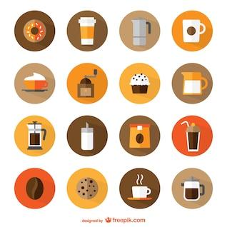 Iconos redondos de cafetería