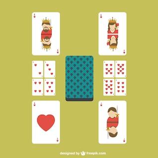 Cartas de póquer de corazones