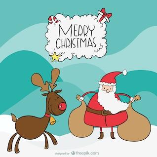 Santa y los dibujos animados alces