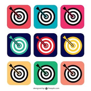 Iconos de diana a color