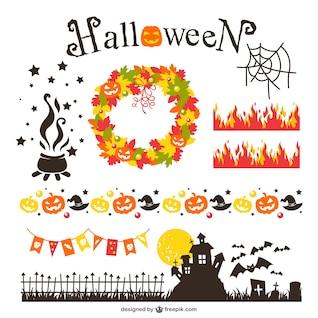 Elementos de diseño de halloween paquete