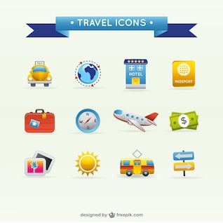 viajes iconos de viaje vector de material