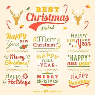 Etiquetas de Navidad de la vendimia