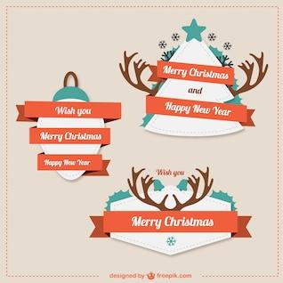 Pegatinas de Navidad estilo retro