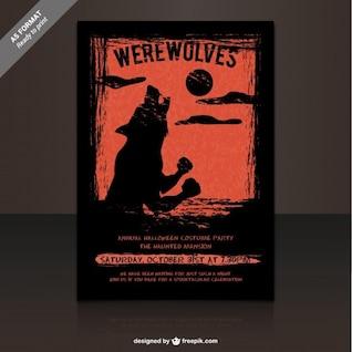 Plantilla de flyer para fiesta de hombres lobo