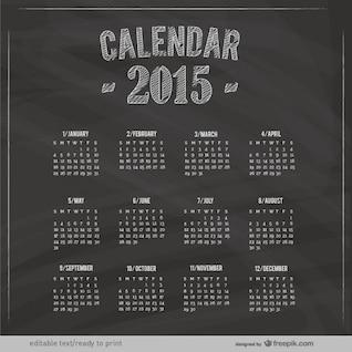 Calendario de 2015 con textura de pizarra