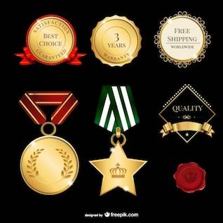 Conjunto de medallas de oro
