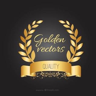 Plantilla con corona de laurel dorada
