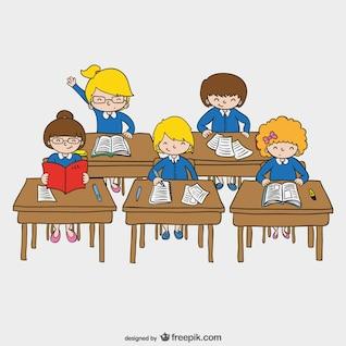 Niños en vector de la escuela
