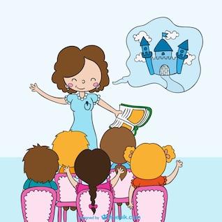 Profesor diciendo un cuento a los niños