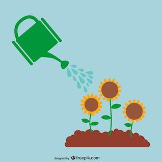 Vector regando las plantas