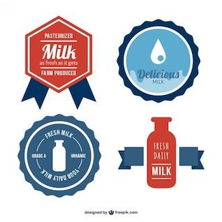 Vectores de etiquetas de leche