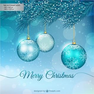 Fondo de Feliz Navidad con bolas azules