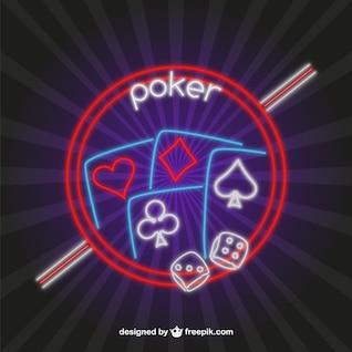 Vector de póquer con luces de neón