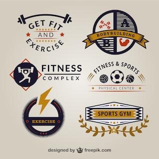Plantillas de logos de gimnasio retro