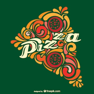 Vector porción de pizza abstracta
