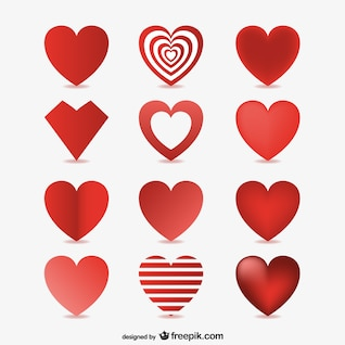 3d corazones vectores