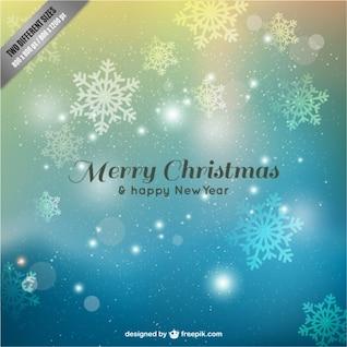 Feliz tarjeta de Navidad con copos de nieve