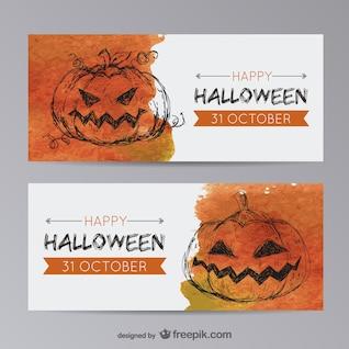Plantillas de banner de Halloween con calabazas