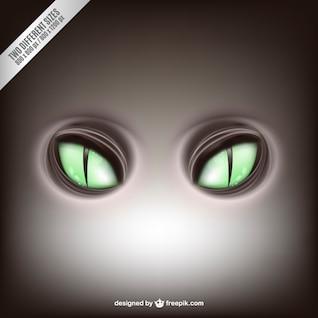 Los ojos verdes felinos vector