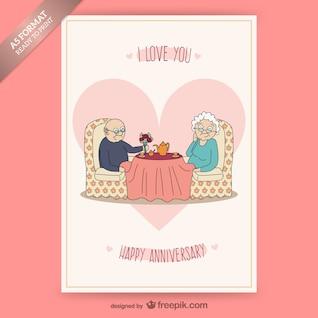 Tarjeta de aniversario con pareja de ancianos