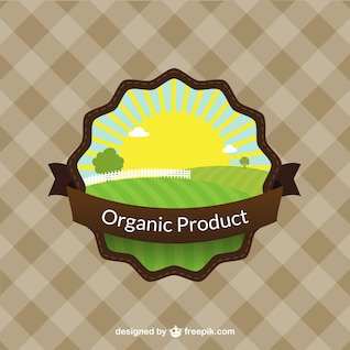 Etiqueta a color de productos orgánicos