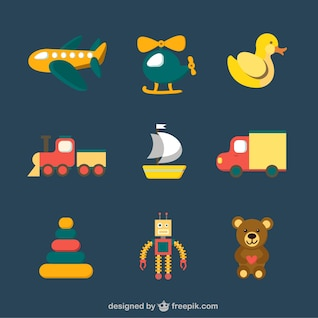 Iconos coloridos de juguetes