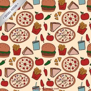 Patrón colorido de comida